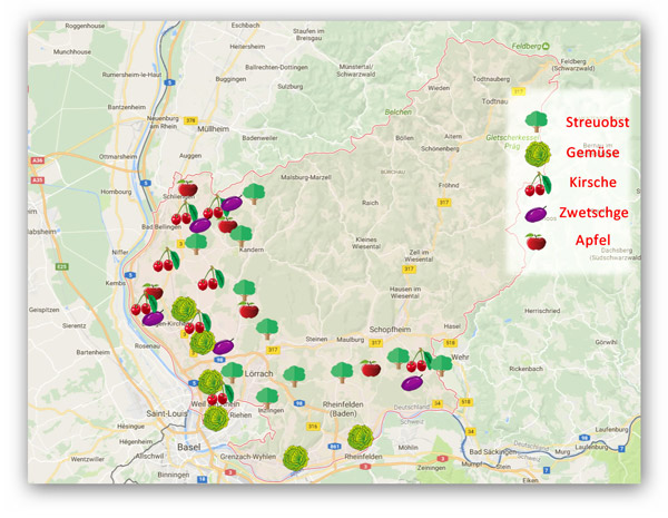 Landkreiskarte Lörrach Anbau Obst und Gemüse